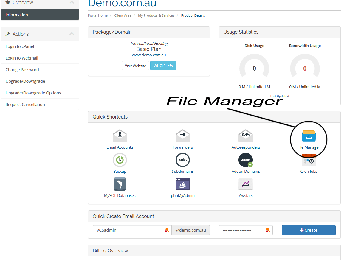 Quick Shortcuts - File Manager - Typical Hosting